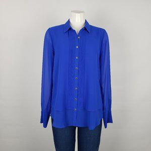 Karl Lagerfeld Blue & Gold Button Front Top Size M